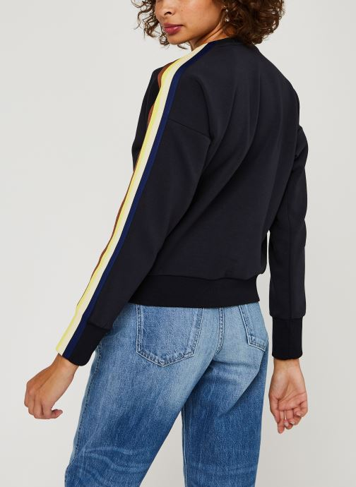 Vêtements Scotch & Soda Crew neck sweat with taped sleeves and zip at front Bleu vue portées chaussures