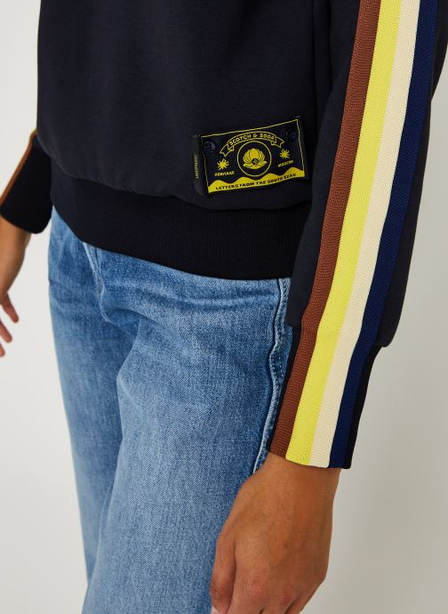 Vêtements Scotch & Soda Crew neck sweat with taped sleeves and zip at front Bleu vue face