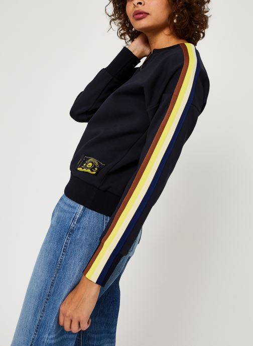 Vêtements Scotch & Soda Crew neck sweat with taped sleeves and zip at front Bleu vue droite
