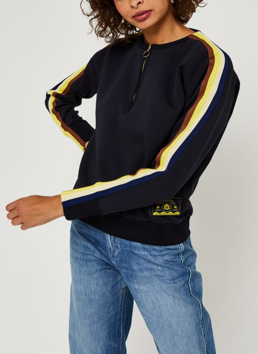 Crew neck sweat with taped sleeves and zip at fron