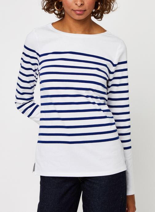 Vêtements Scotch & Soda Classic engineered breton tee Blanc vue droite