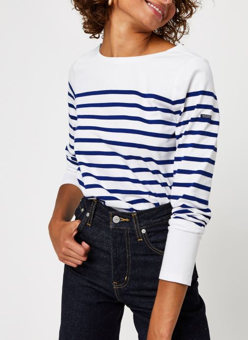 Vêtements Scotch & Soda Classic engineered breton tee Blanc vue détail/paire