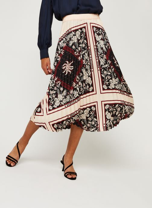 Vêtements Scotch & Soda Plisse skirt with scarf inspired print Rose vue détail/paire