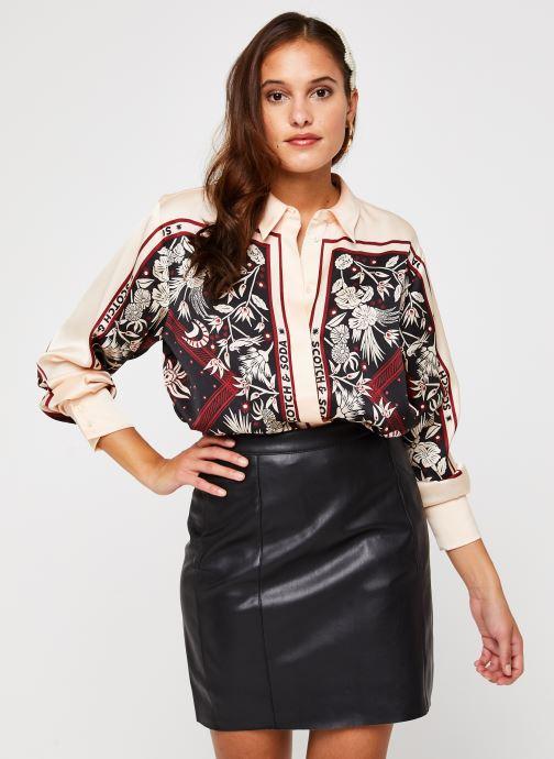 Oversized silky feel shirt in seasonal pattern