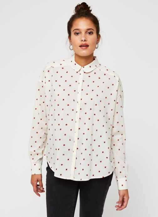 Vêtements Scotch & Soda Cotton modal all over printed shirt with round collar Blanc vue droite
