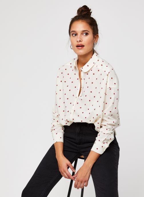Vêtements Scotch & Soda Cotton modal all over printed shirt with round collar Blanc vue détail/paire