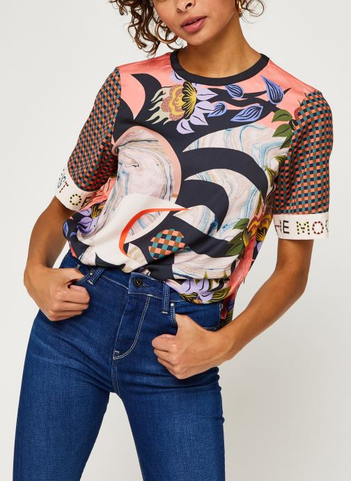 Printed top with short sleeves