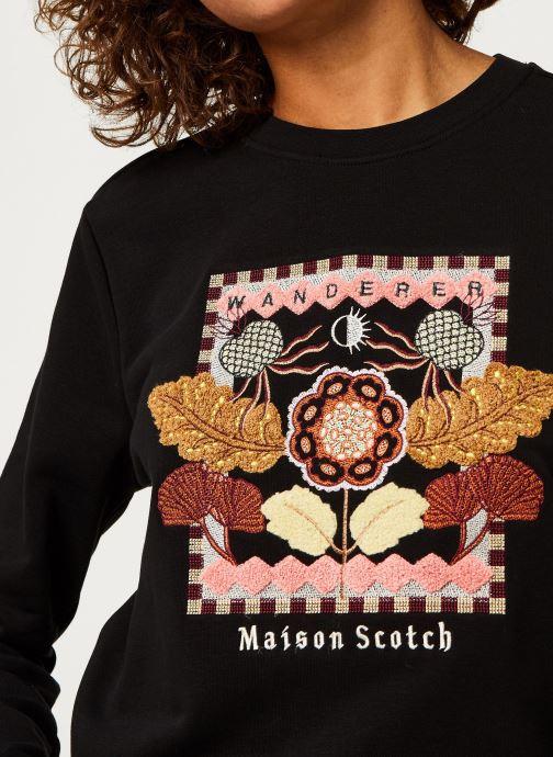 Vêtements Scotch & Soda Crewneck sweat with embroidered artwork Noir vue face