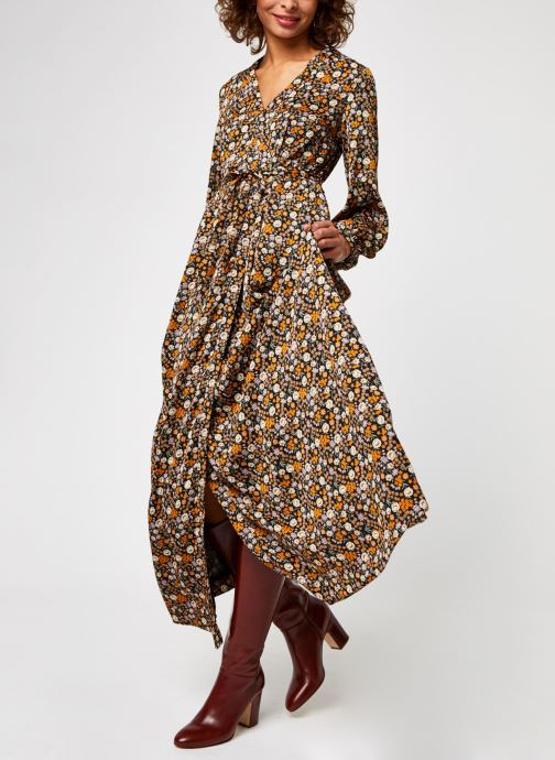 Printed maxi length wrapover dress