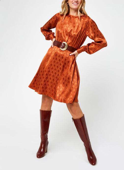 Kleding Scotch & Soda Paisley jacquard dress with waist seam and peplum at bottom Bruin onder