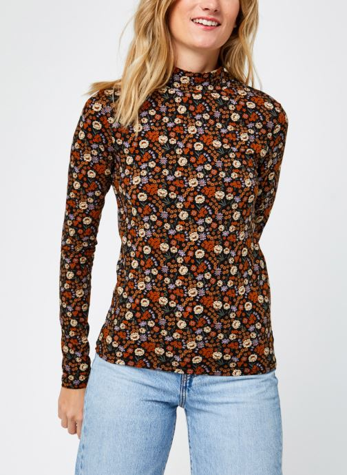 Vêtements Scotch & Soda Printed long sleeve tee with high neck Multicolore vue droite