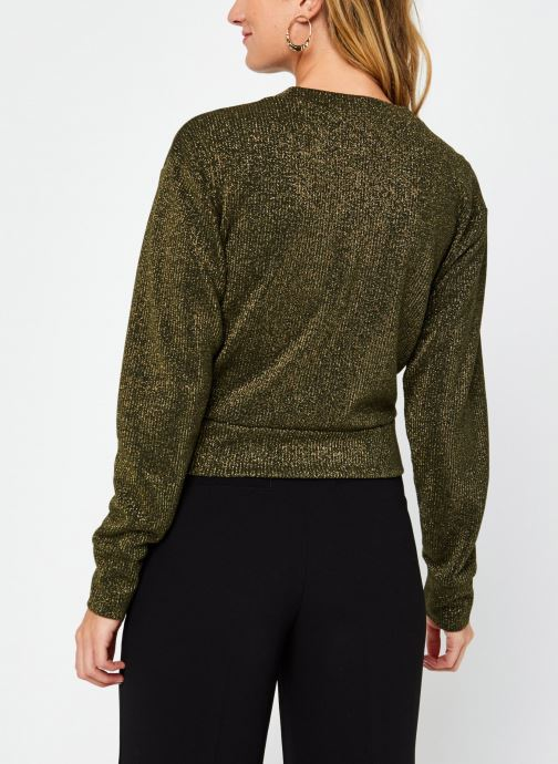 Vêtements Scotch & Soda Cropped knotted long sleeve tee in lurex jersey quality Vert vue portées chaussures