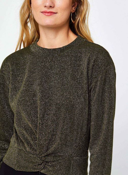 Vêtements Scotch & Soda Cropped knotted long sleeve tee in lurex jersey quality Vert vue face