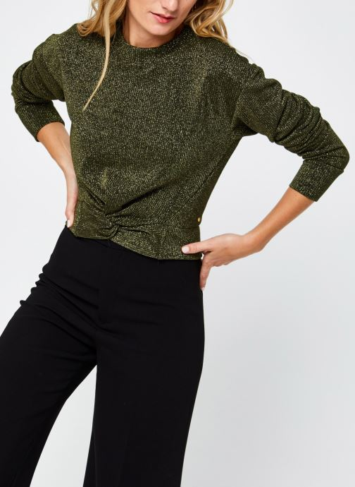 Vêtements Scotch & Soda Cropped knotted long sleeve tee in lurex jersey quality Vert vue droite