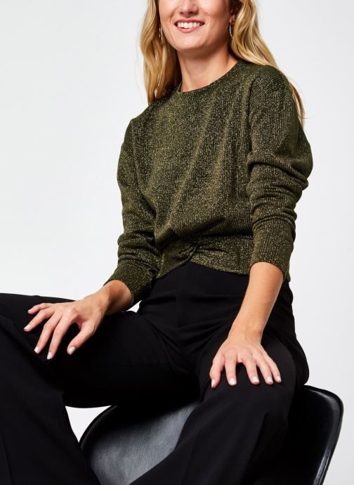 Vêtements Scotch & Soda Cropped knotted long sleeve tee in lurex jersey quality Vert vue détail/paire