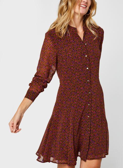 Vêtements Scotch & Soda Drapey printed dress with peplum at side Marron vue détail/paire