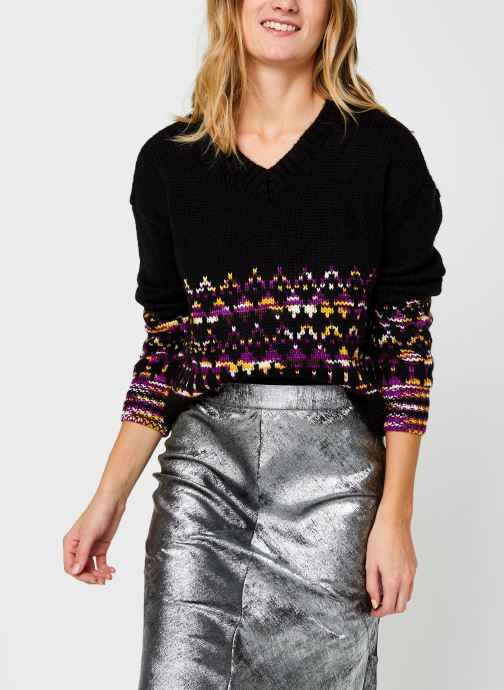 Kleding Accessoires V-neck knit with space yarn fairisle pattern