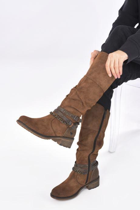Bottes Mustang shoes Edwige Marron vue bas / vue portée sac