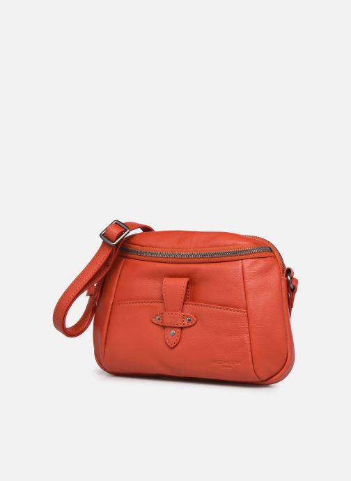 Bolsos de mano Hexagona ESMA LEATHER CROSSBODY Naranja vista del modelo