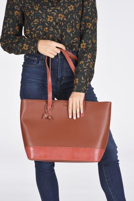 Handtaschen Hexagona POEME CABAS A4 ZIPPE braun ansicht von unten / tasche getragen
