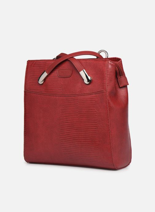 Sacs à dos Hexagona EXOTICA CABAS Rouge vue portées chaussures