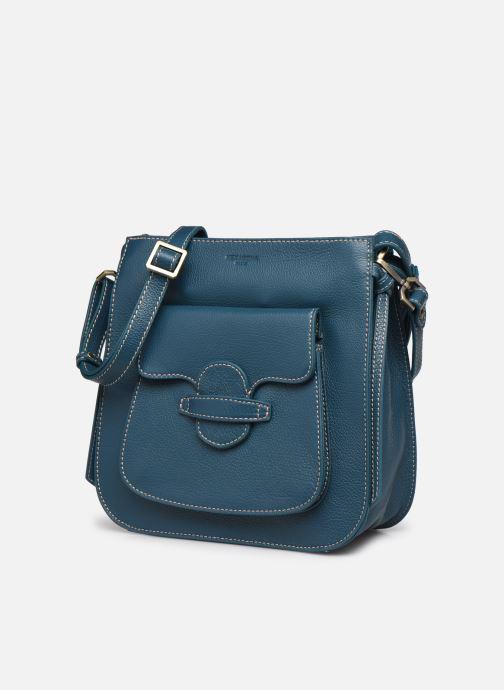 Bolsos de mano Hexagona WILD LEATHER PORTE EPAULE Azul vista del modelo