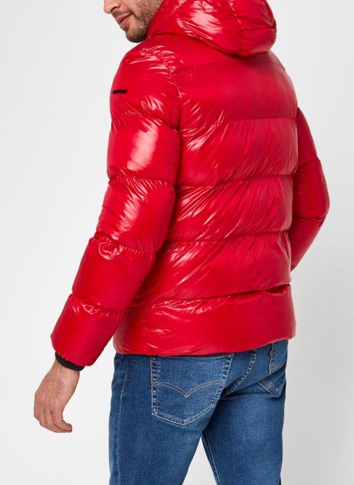 Vêtements Geox Man Sile Hood Jacket Rouge vue portées chaussures