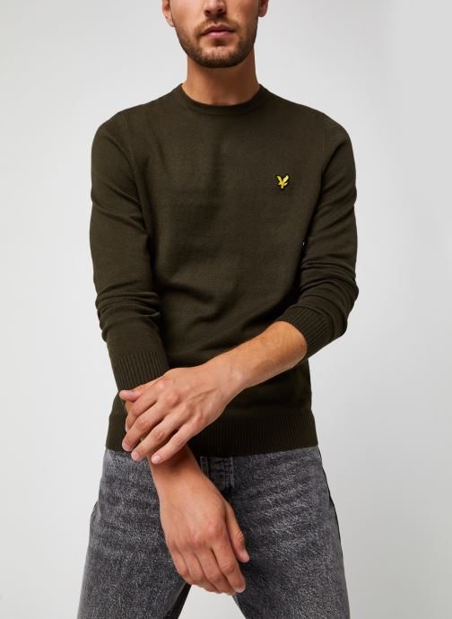 Vêtements Lyle & Scott Crew Neck Cotton Merino Jumper Vert vue détail/paire