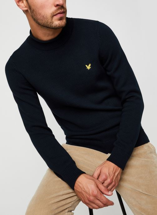 Vêtements Lyle & Scott Funnel Roll Top Knitted Jumper Bleu vue détail/paire