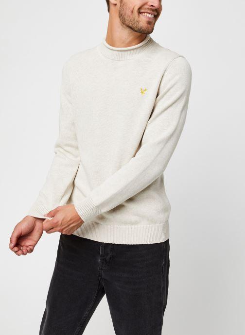 Vêtements Lyle & Scott Funnel Roll Top Knitted Jumper Blanc vue droite