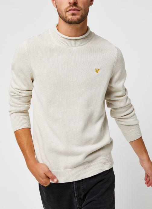 Vêtements Lyle & Scott Funnel Roll Top Knitted Jumper Blanc vue détail/paire
