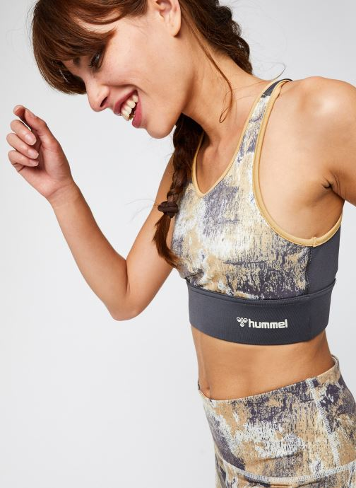 Vêtements Hummel Hmllotus Sports Bra Vegan Sustainability program Beige vue détail/paire