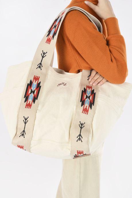 Sacs à main Polo Ralph Lauren MD SQ LDRY TOTE MEDIUM Blanc vue bas / vue portée sac