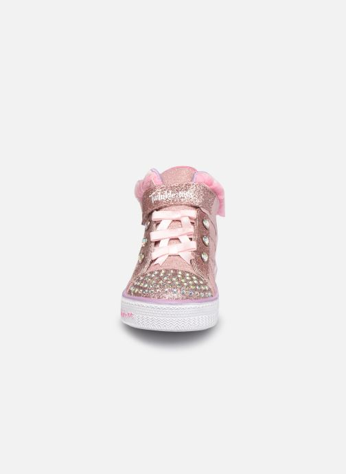 Baskets Skechers Shuffle lites Rose vue portées chaussures