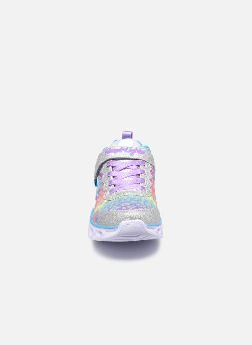 Sneakers Skechers Heart Lights Shimmer Spots Argento modello indossato