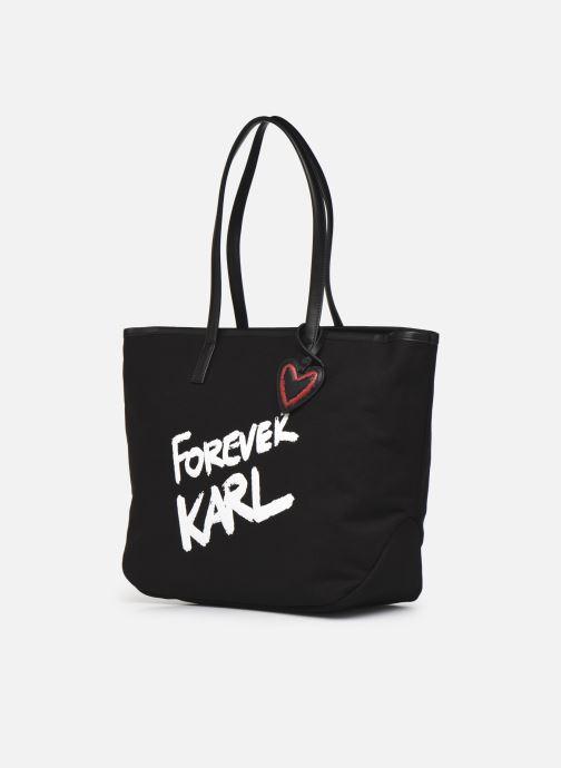 Handtaschen Karl Lagerfeld Karl Forever Canvas Shopper schwarz schuhe getragen