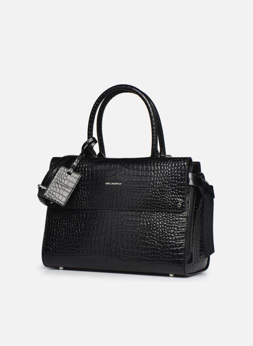 Bolsos de mano Karl Lagerfeld K/Ikon Croc Md Top Handle Negro vista del modelo
