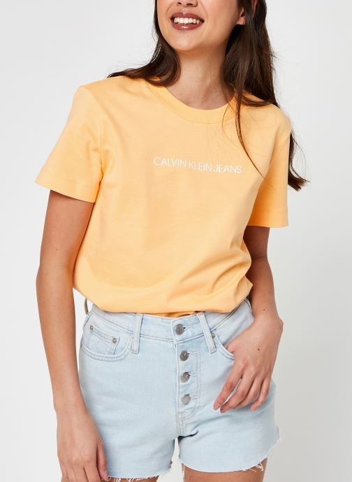 Kleding Calvin Klein Jeans Shrunken Institutional Tee Oranje detail