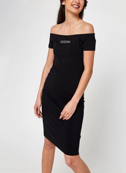 Kleding Calvin Klein Jeans Shine Logo Bardot Neckline Dress Zwart detail