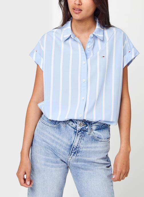 Vêtements Tommy Jeans Tjw Relaxed Stripe Shirt Ss Bleu vue détail/paire