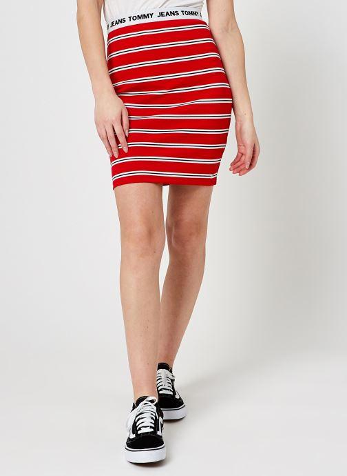 Kleding Tommy Jeans Tjw Stripe Bodycon Mid Skirt Rood detail