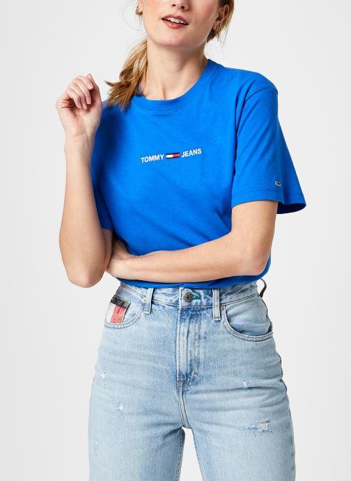 Ropa Tommy Jeans Tjw Bxy Crop Linear Logo Tee Azul vista de detalle / par