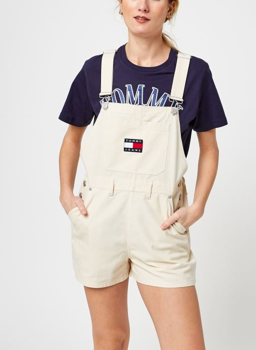 Ropa Tommy Jeans Tjw Dungaree Shorts Beige vista de detalle / par