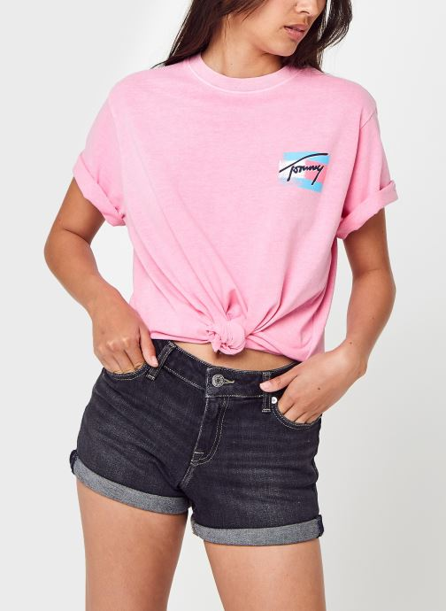 Vêtements Tommy Jeans Tjw Relaxed Painted Flag Tee Rose vue détail/paire