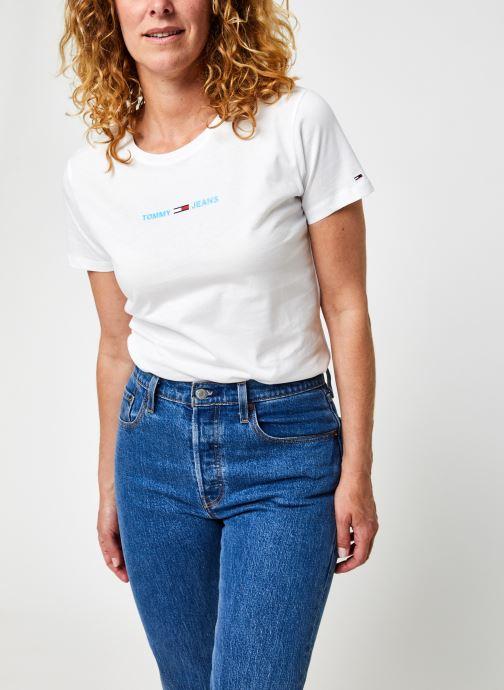Ropa Tommy Jeans Tjw Slim Multi Linear Logo Blanco vista de detalle / par