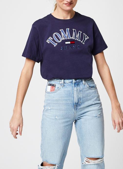 Ropa Tommy Jeans Tjw Relaxed College Logo Tee Azul vista de detalle / par
