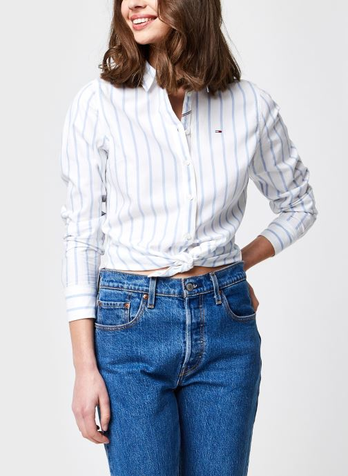 Vêtements Tommy Jeans Tjw Slim Oxford Stripe Shirt Bleu vue détail/paire