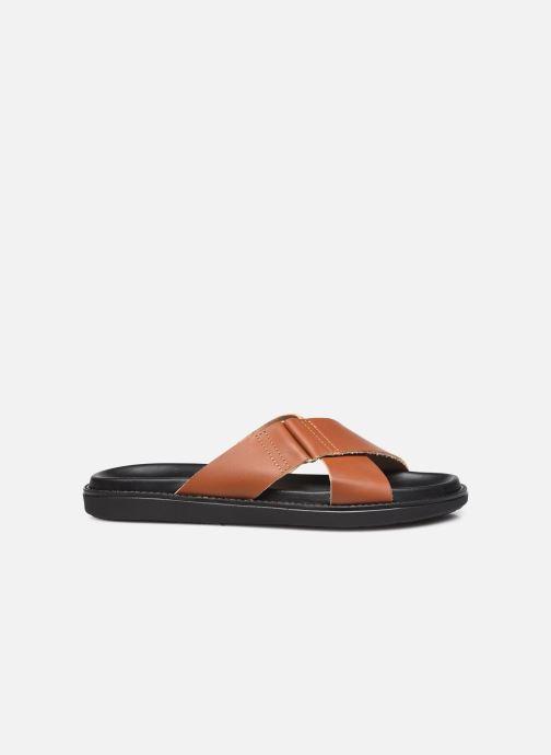 Wedges Bianco BIADEBBIE Leather Cross Sandal Bruin achterkant
