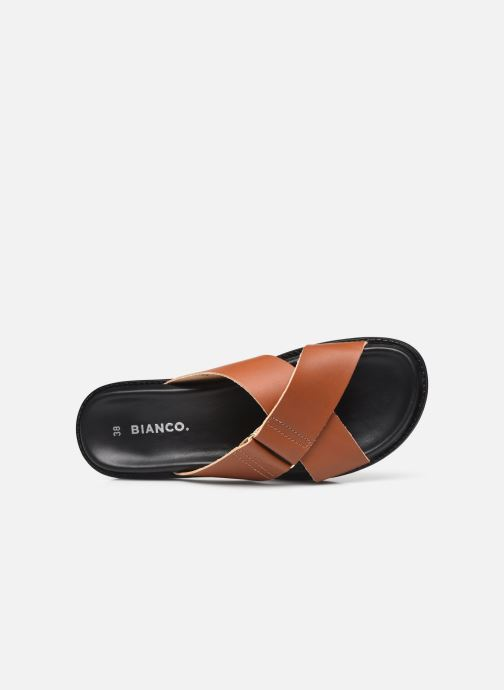 Wedges Bianco BIADEBBIE Leather Cross Sandal Bruin links