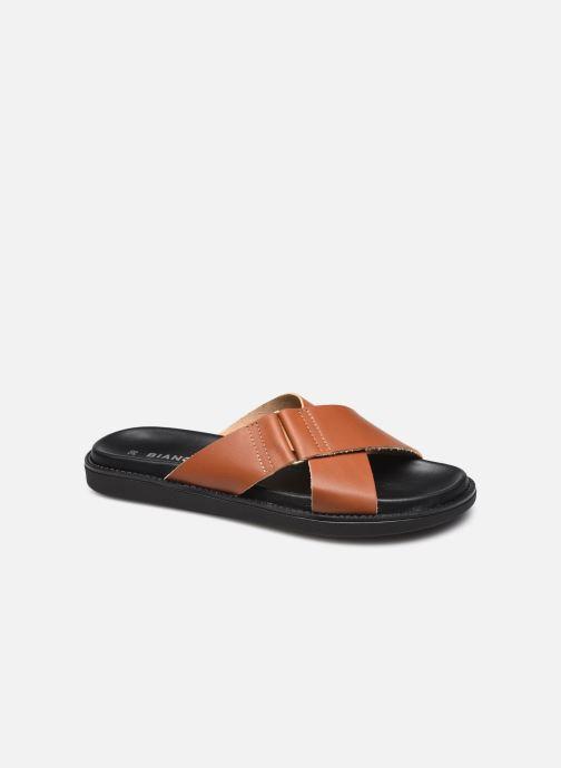 Wedges Bianco BIADEBBIE Leather Cross Sandal Bruin detail